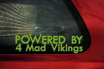 2x 'Powered by 4 mad vikings' stickers ideal for Volvo S40 / V40 / S60, T4 turbo